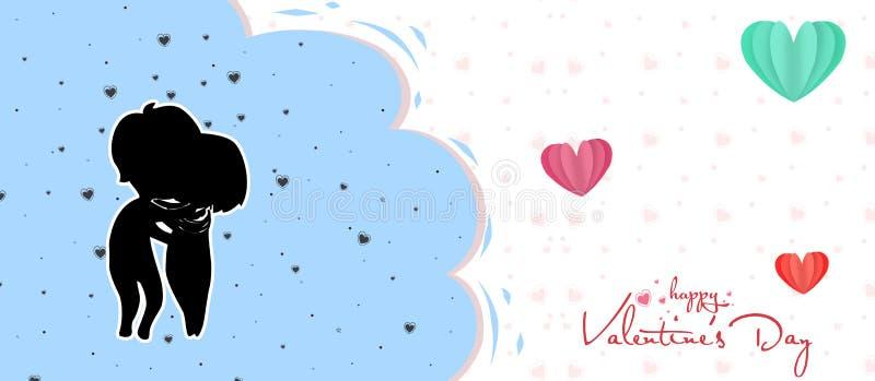 έφηβοι ερωτευμένοι την ημέρα του βαλεντίνου, την όμορφη ευχετήρια κάρτα ημέρας βαλεντίνων με το ζεύγος ή τη σκιαγραφία εφήβων απεικόνιση αποθεμάτων