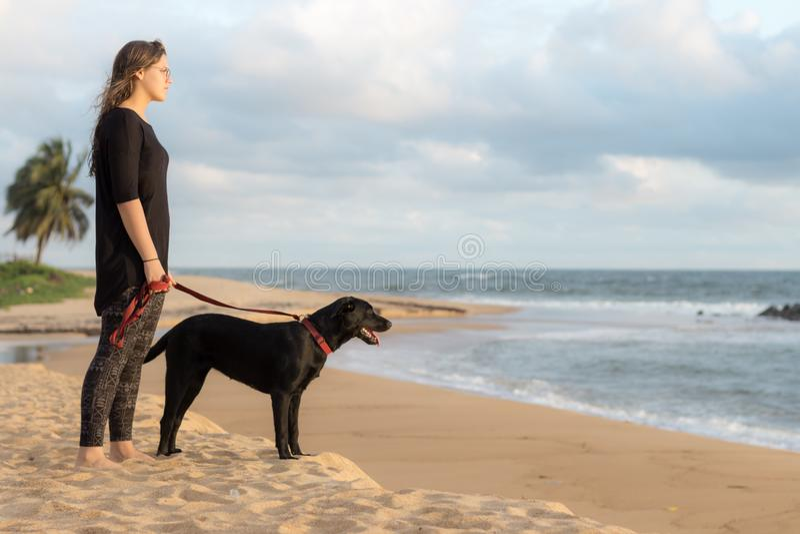 Έφηβος και το σκυλί της στην παραλία στοκ φωτογραφία