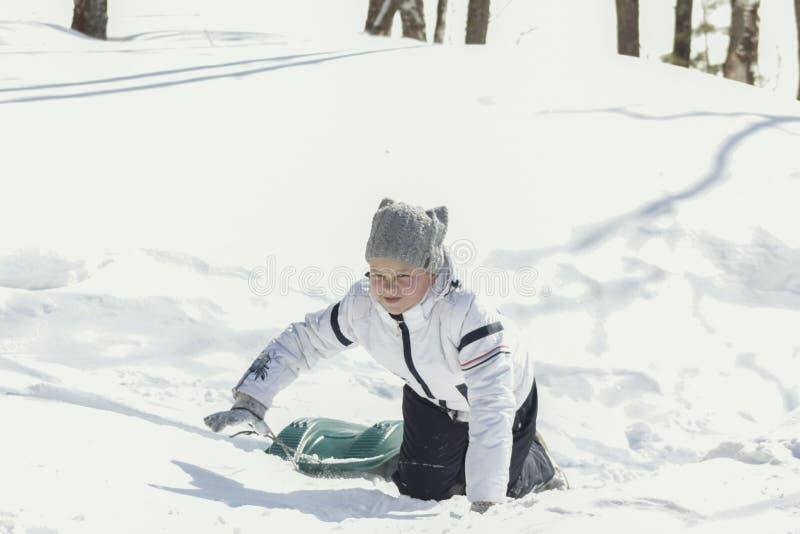 Έφηβος μικρών κοριτσιών σε ένα χειμερινό ηλιόλουστο δάσος με το έλκηθρο στοκ εικόνες