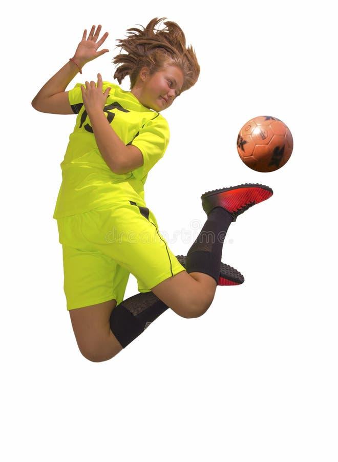 έφηβος ποδοσφαίρου φορέ&o Απομονωμένο λευκό στοκ φωτογραφίες