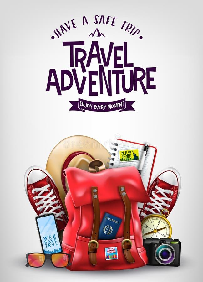 Έχετε μια ασφαλή αφίσα περιπέτειας ταξιδιού ταξιδιού με τα ρεαλιστικά τρισδιάστατα διακινούμενα στοιχεία όπως το σακίδιο πλάτης,  απεικόνιση αποθεμάτων