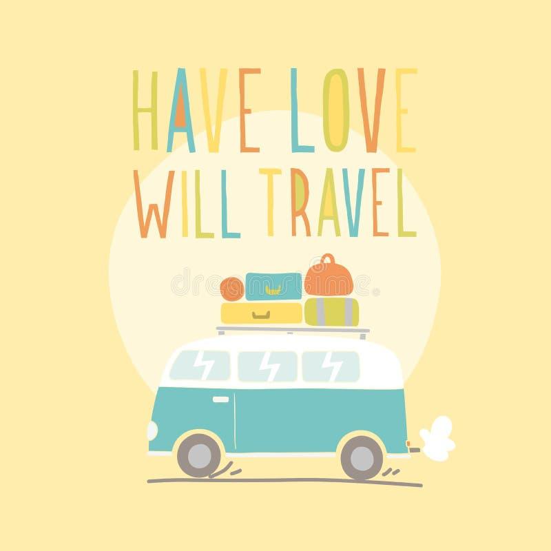 Έχετε την αγάπη θα ταξιδεψει Αναδρομικό van illustration διανυσματική απεικόνιση