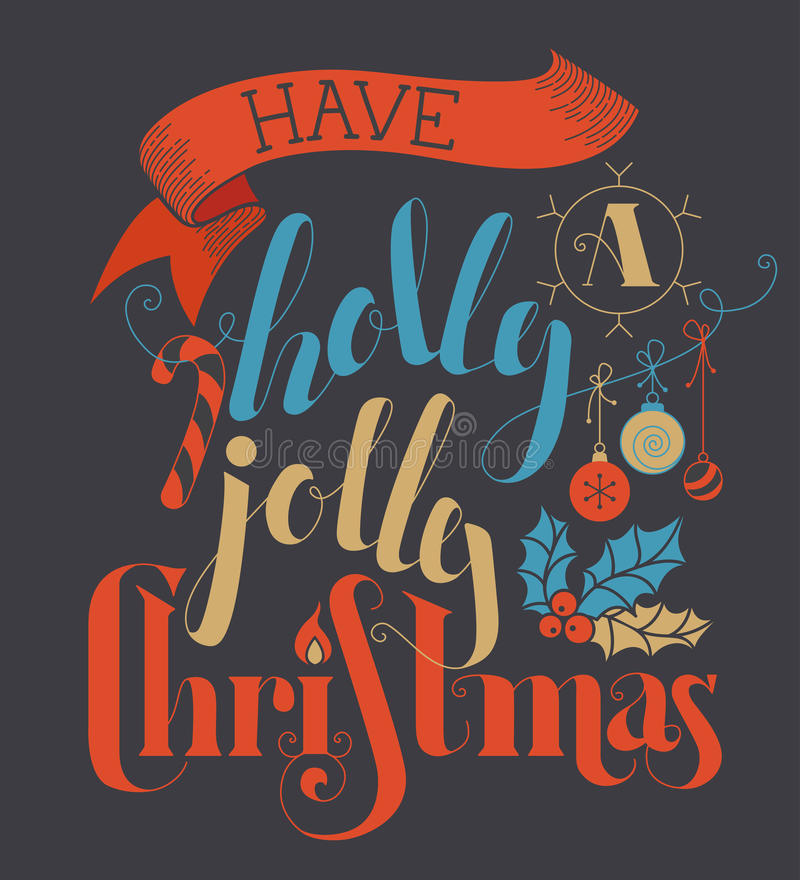 Download Έχετε Χριστούγεννα της Holly ευχάριστα! Διανυσματική απεικόνιση - εικονογραφία από κερί, γκρίζος: 62720985