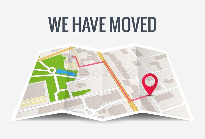 Έχουμε κινήσει τη νέα θέση εικονιδίων γραφείων Χάρτης επιχειρησιακών σπιτιών ανακοίνωσης θέσης αλλαγής κίνησης διευθύνσεων διανυσματική απεικόνιση