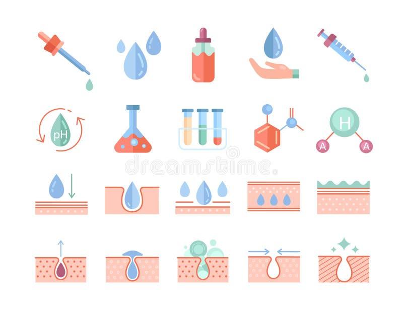 Έχουν οριστεί πολύχρωμα εικονίδια φροντίδας δέρματος διανυσματική απεικόνιση