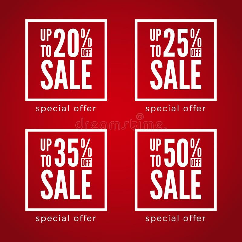 20 έως 50 τοις εκατό από τις εκπτώσεις πώλησης που τίθενται στο κόκκινο υπόβαθρο r ελεύθερη απεικόνιση δικαιώματος