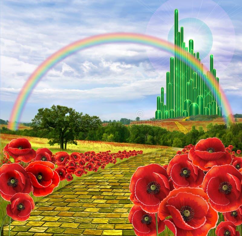 Έδαφος Oz και του κίτρινου δρόμου τούβλου στοκ εικόνα