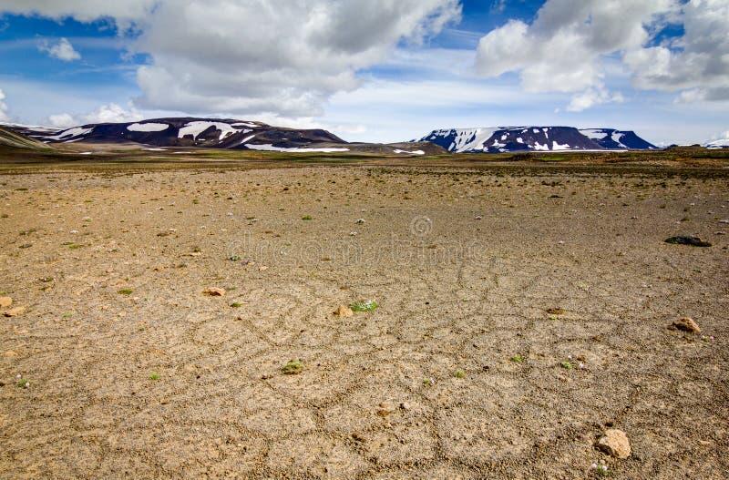 Έδαφος Patternd με τα πολύγωνα στην όμορφη αρχέγονη ισλανδική ορεινή περιοχή Ισλανδία στοκ εικόνα με δικαίωμα ελεύθερης χρήσης