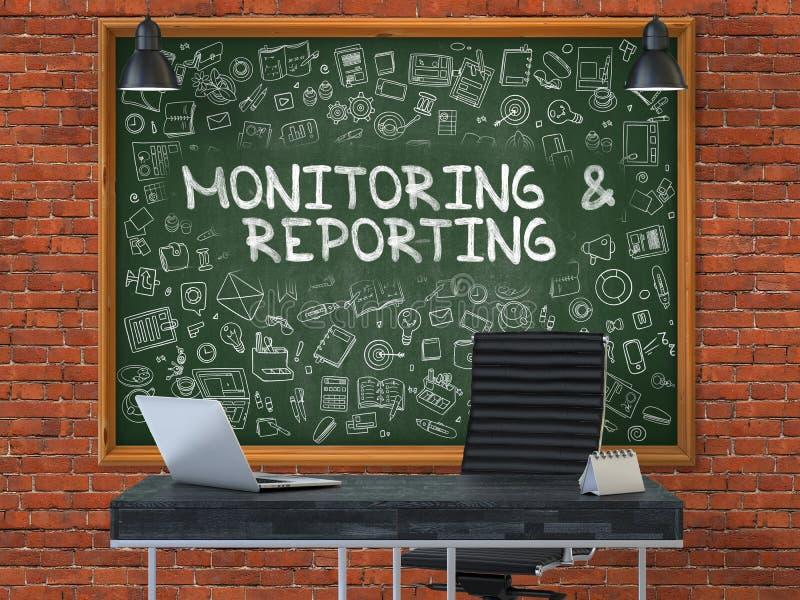 Έλεγχος και υποβολή έκθεσης σχετικά με τον πίνακα κιμωλίας στο γραφείο τρισδιάστατος ελεύθερη απεικόνιση δικαιώματος