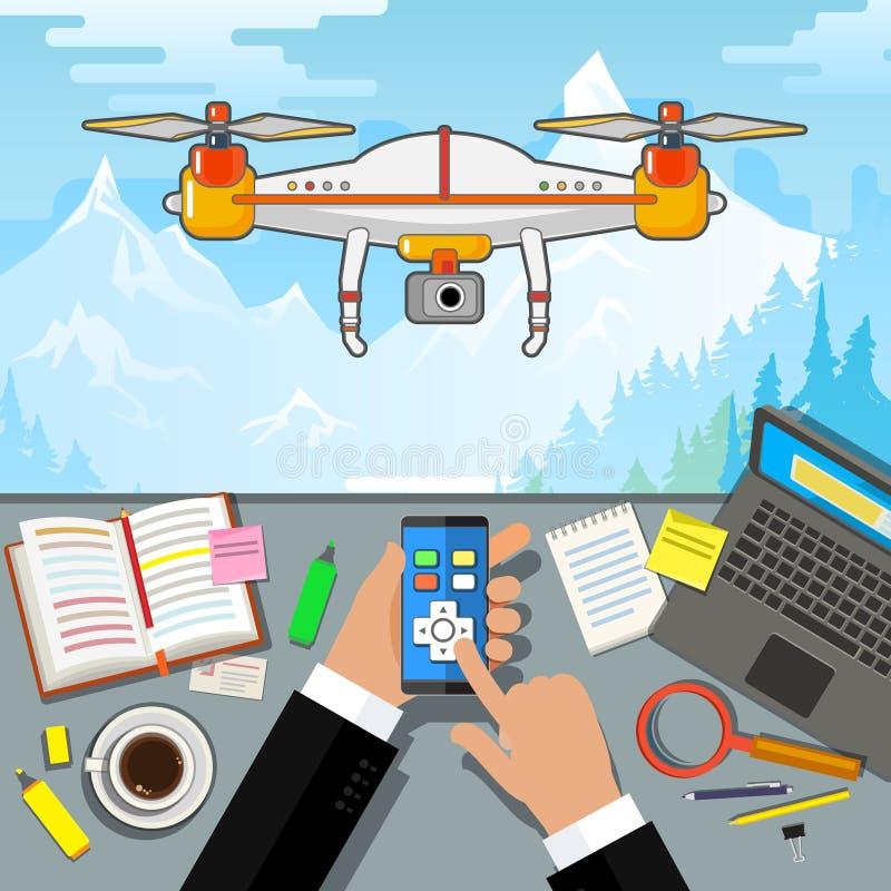 Έλεγχος κηφήνων μέσω του τηλεφώνου Κεραία Quadcopter με τη κάμερα απεικόνιση αποθεμάτων