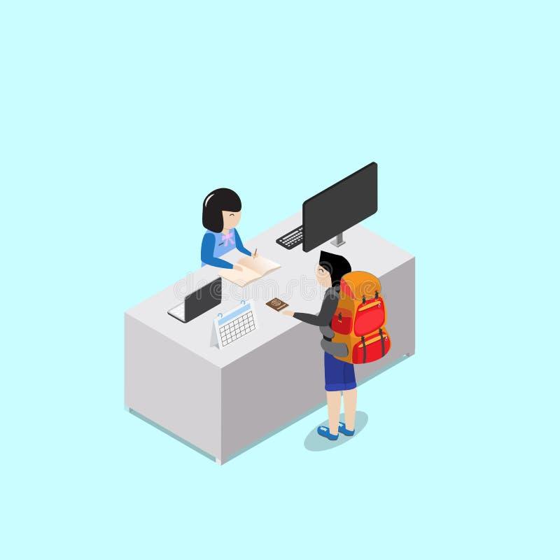 Έλεγχος πελατών Backpacker μέσα με το ρεσεψιονίστ διανυσματική απεικόνιση