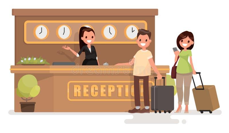 Έλεγχος σε ένα ξενοδοχείο Το νέο ζεύγος με τις βαλίτσες στέκεται στο τ ελεύθερη απεικόνιση δικαιώματος