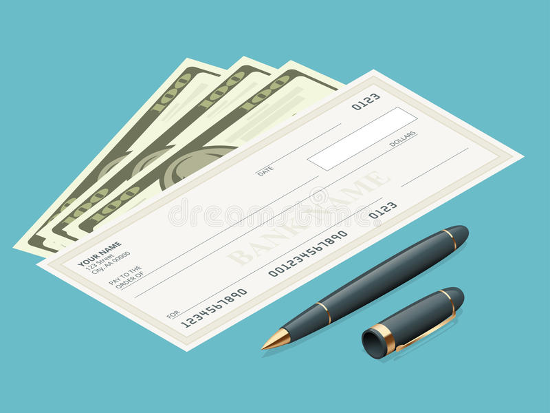 Έλεγχος τράπεζας με το σύγχρονο σχέδιο Επίπεδη απεικόνιση Βιβλίο επιταγών στο χρωματισμένο υπόβαθρο Έλεγχος τράπεζας με τη μάνδρα διανυσματική απεικόνιση