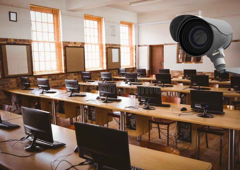 Έλεγχος CCTV μια τάξη υπολογιστών στοκ εικόνα με δικαίωμα ελεύθερης χρήσης