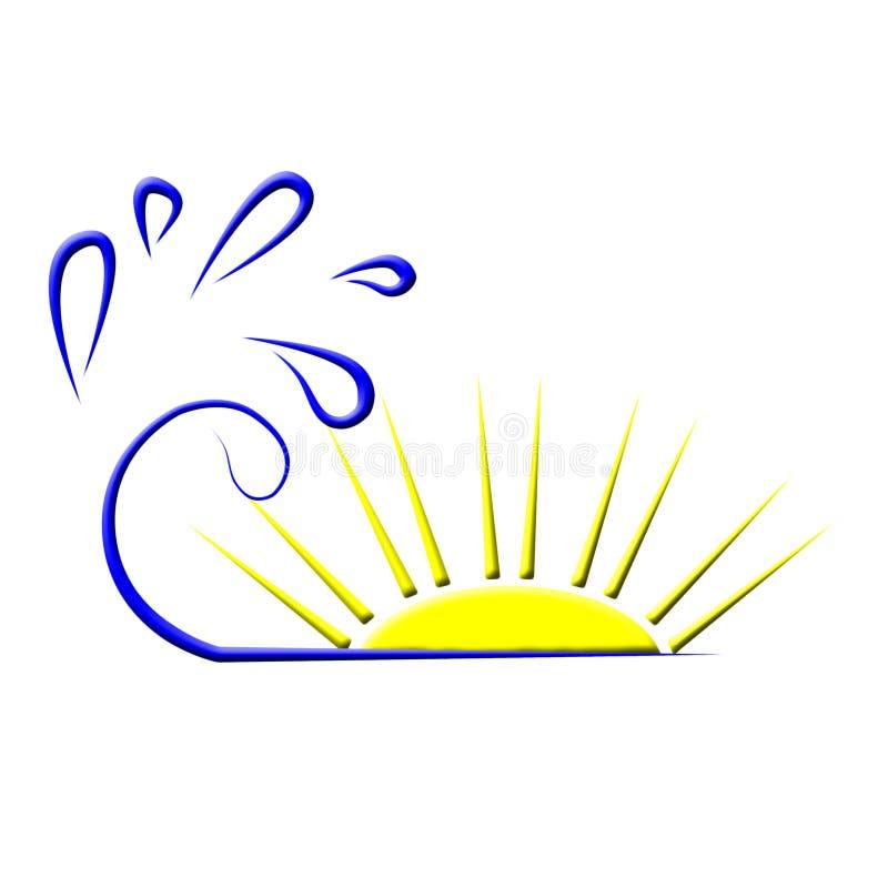 ήλιος θάλασσας λογότυπ& ελεύθερη απεικόνιση δικαιώματος
