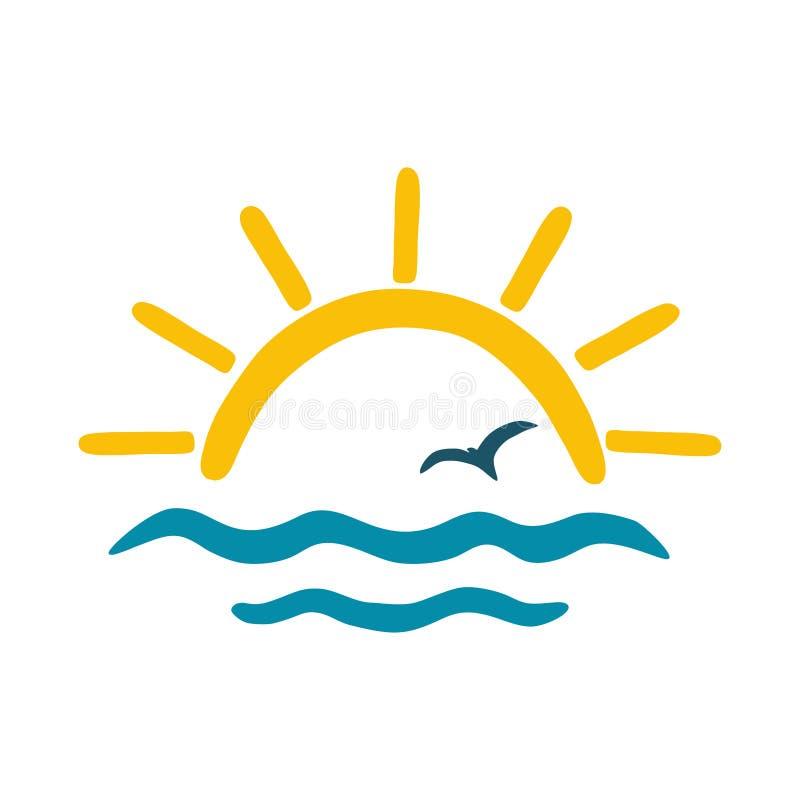 Ήλιος, θάλασσα, γλάρος Διανυσματικό εικονίδιο χρώματος, λογότυπο για το θέμα του ταξιδιού ελεύθερη απεικόνιση δικαιώματος