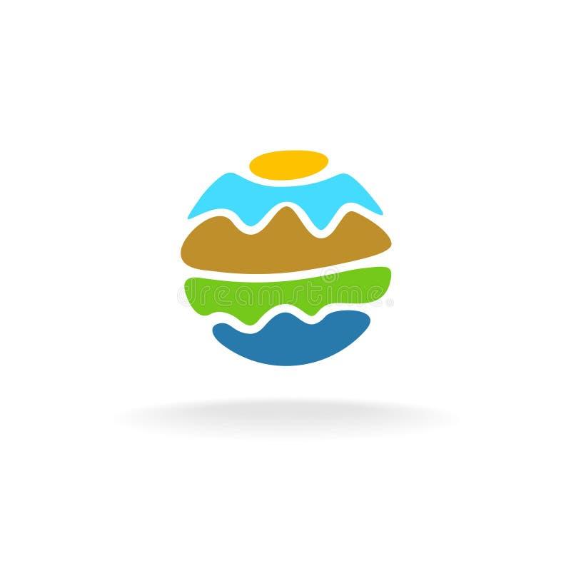 Ήλιος, θάλασσα, ουρανός και βουνά γύρω από το τυποποιημένο λογότυπο απεικόνιση αποθεμάτων