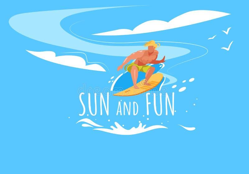 Ήλιος και έμβλημα διασκέδασης με τον οδηγώντας πίνακα κυματωγών ατόμων διανυσματική απεικόνιση