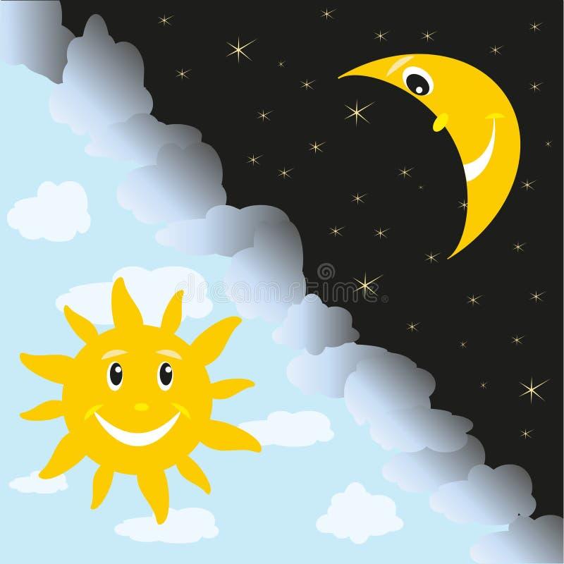 Ήλιος και φεγγάρι διανυσματική απεικόνιση