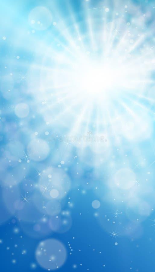 ήλιος μπλε ουρανού Ρεαλιστικό σχέδιο θαμπάδων με τις ακτίνες έκρηξης αφηρημένο να λάμψει ανασκόπ& διανυσματική απεικόνιση