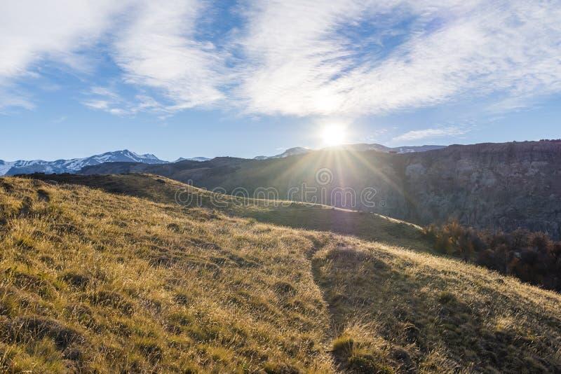 Ήλιος που αυξάνεται κατά τη διάρκεια του φθινοπώρου pampas στοκ φωτογραφία