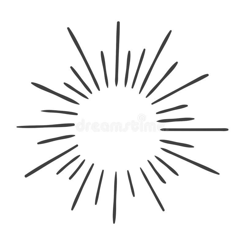 Ήλιος που εκρήγνυται doodle απομονωμένος στο λευκό ελεύθερη απεικόνιση δικαιώματος