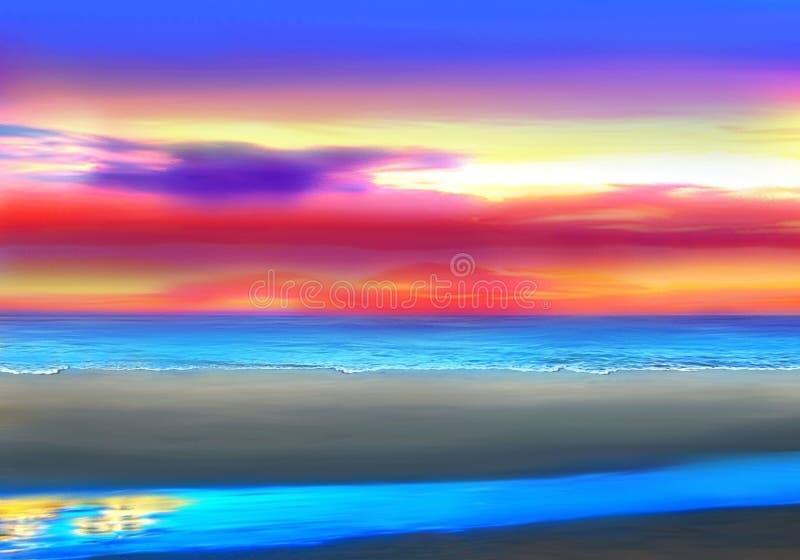 Ήλιος που θέτει στην παραλία Ειρηνικών Ωκεανών στοκ εικόνες