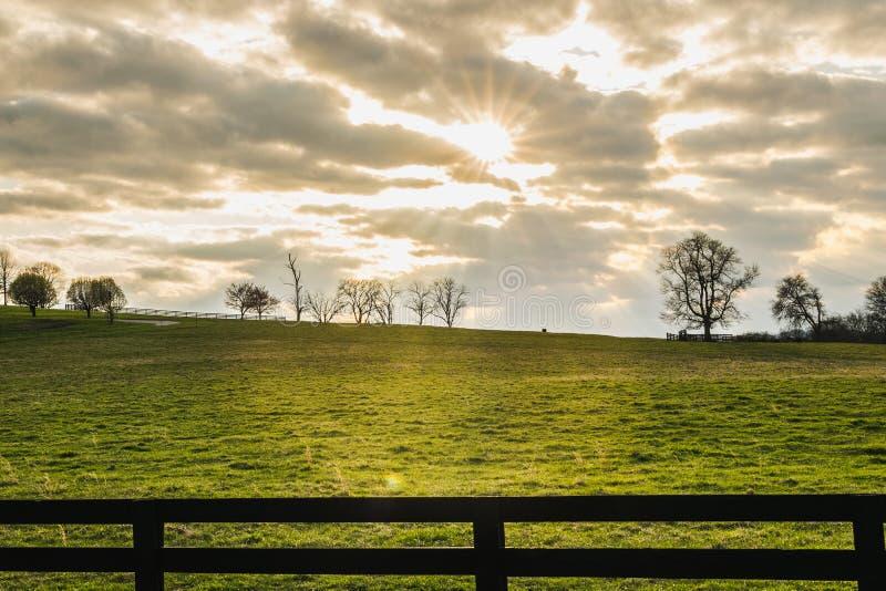 Ήλιος που λάμπει μέσω των σύννεφων πέρα από έναν πράσινο τομέα σε αργά το απόγευμα στοκ φωτογραφίες