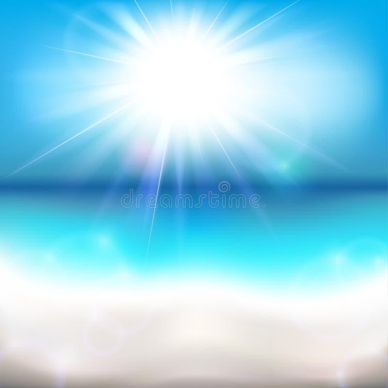 Ήλιος που λάμπει πέρα από τον ωκεανό ελεύθερη απεικόνιση δικαιώματος