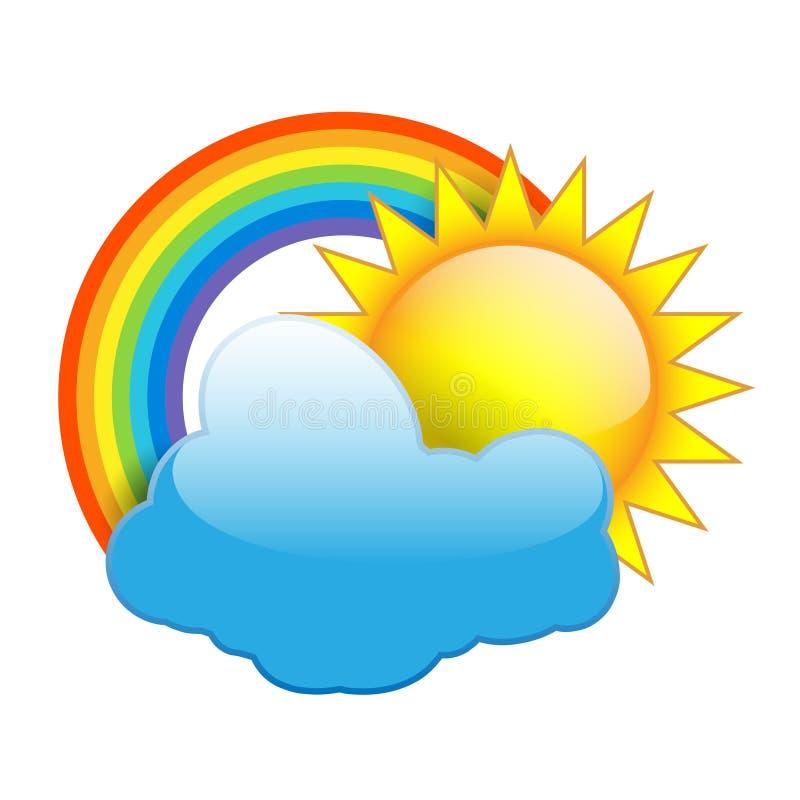 Ήλιος, σύννεφα και ουράνιο τόξο απομονωμένα σε λευκό ελεύθερη απεικόνιση δικαιώματος