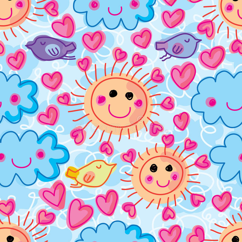 Ήλιων ακτίνων αγάπης πουλιών άνευ ραφής σχέδιο doddle σύννεφων χαριτωμένο διανυσματική απεικόνιση