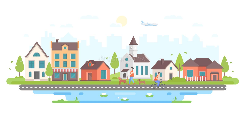 Ήρεμη ζωή πόλεων - σύγχρονη επίπεδη διανυσματική απεικόνιση ύφους σχεδίου διανυσματική απεικόνιση