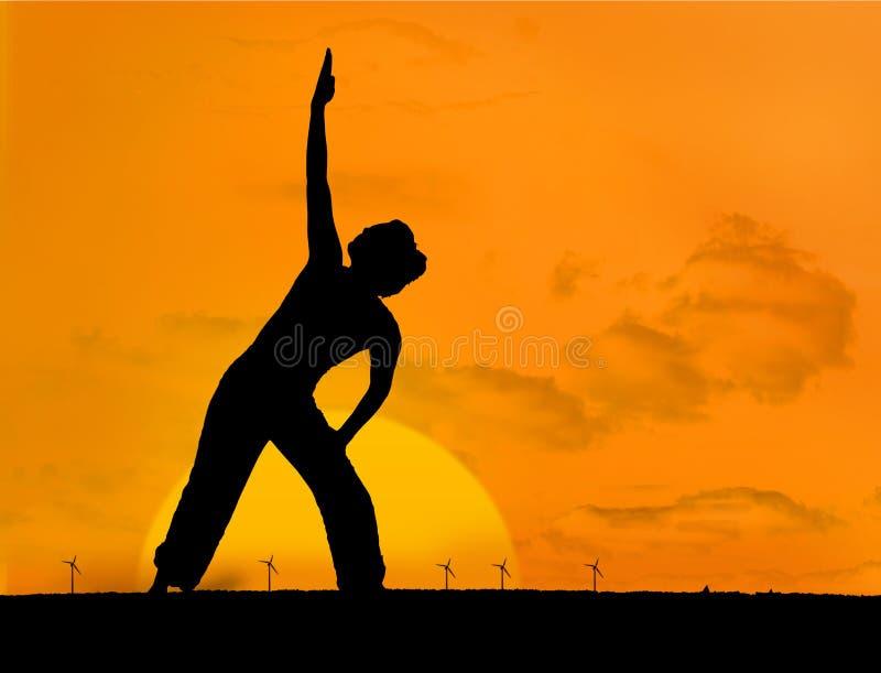 Ήρεμη σκιαγραφία της γιόγκας άσκησης γυναικών απεικόνιση αποθεμάτων