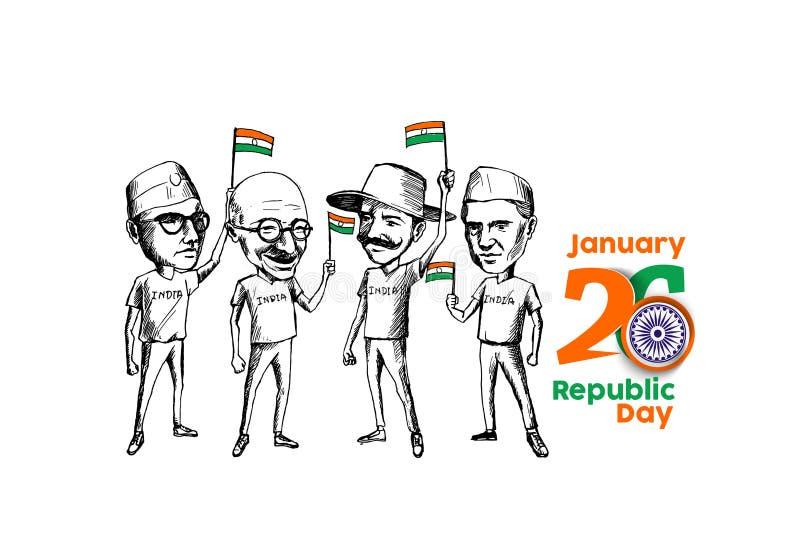 Ήρωας έθνους και μαχητής ελευθερίας για τη ημέρα της ανεξαρτησίας απεικόνιση αποθεμάτων