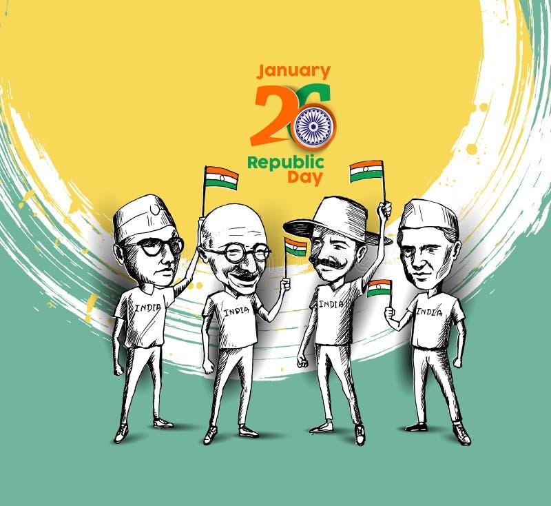 Ήρωας έθνους και μαχητής ελευθερίας για τη ημέρα της ανεξαρτησίας ελεύθερη απεικόνιση δικαιώματος
