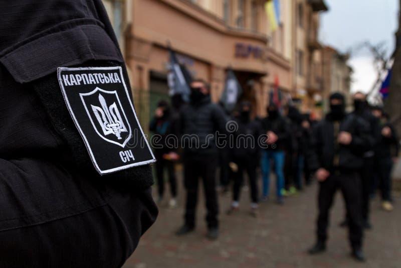 Ήρωες ανάκλησης Marchers της Καρπάθιας Ουκρανίας σε Uzhhorod στοκ φωτογραφία με δικαίωμα ελεύθερης χρήσης