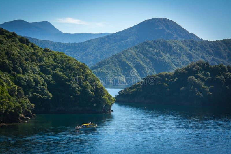 Ήχοι Marlborough που βλέπουν από το πορθμείο από τον Ουέλλινγκτον σε Picton, Νέα Ζηλανδία στοκ φωτογραφίες με δικαίωμα ελεύθερης χρήσης