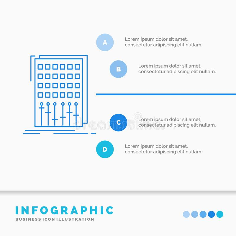 Ήχος, έλεγχος, μίγμα, αναμίκτης, πρότυπο Infographics στούντιο για τον ιστοχώρο και παρουσίαση Γραμμών μπλε διάνυσμα ύφους εικονι απεικόνιση αποθεμάτων