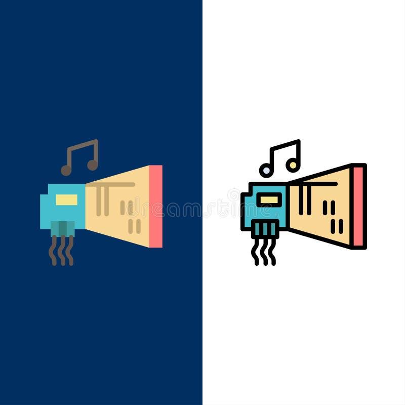 Ήχος, αμμοστρωτική μηχανή, συσκευή, υλικό, εικονίδια μουσικής Επίπεδος και γραμμή γέμισε το καθορισμένο διανυσματικό μπλε υπόβαθρ ελεύθερη απεικόνιση δικαιώματος