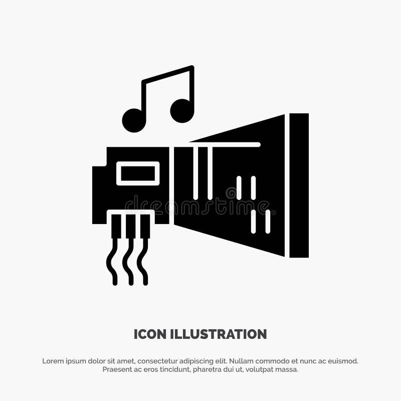 Ήχος, αμμοστρωτική μηχανή, συσκευή, υλικό, στερεό διάνυσμα εικονιδίων Glyph μουσικής απεικόνιση αποθεμάτων