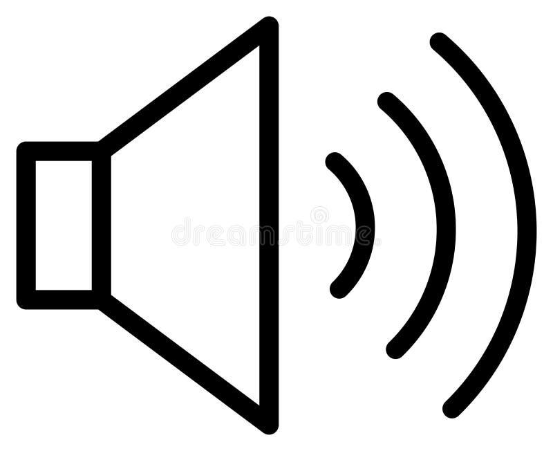 Ήχος στο εικονίδιο περιλήψεων Διανυσματική απεικόνιση ομιλητών ελεύθερη απεικόνιση δικαιώματος
