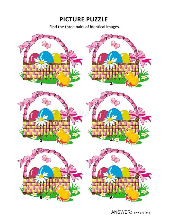 A4 ή η επιστολή ταξινόμησε το γρίφο εικόνων με τα καλάθια Πάσχας απεικόνιση αποθεμάτων