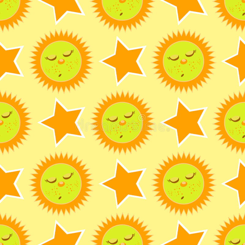 Ήλιος και αστέρι ύπνου πρότυπο άνευ ραφής απεικόνιση αποθεμάτων