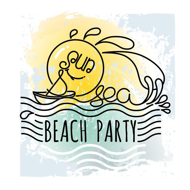 Ήλιος και θάλασσα κόμμα παραλιών Συρμένο χέρι διάνυσμα διακοπών ελεύθερη απεικόνιση δικαιώματος
