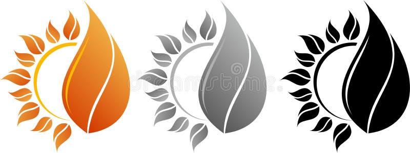 Ήλιος και πυρκαγιά λογότυπων διανυσματική απεικόνιση