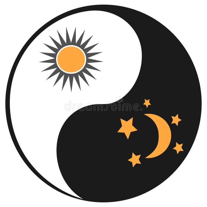 Ήλιος και φεγγάρι στο σύμβολο ying yang διανυσματική απεικόνιση