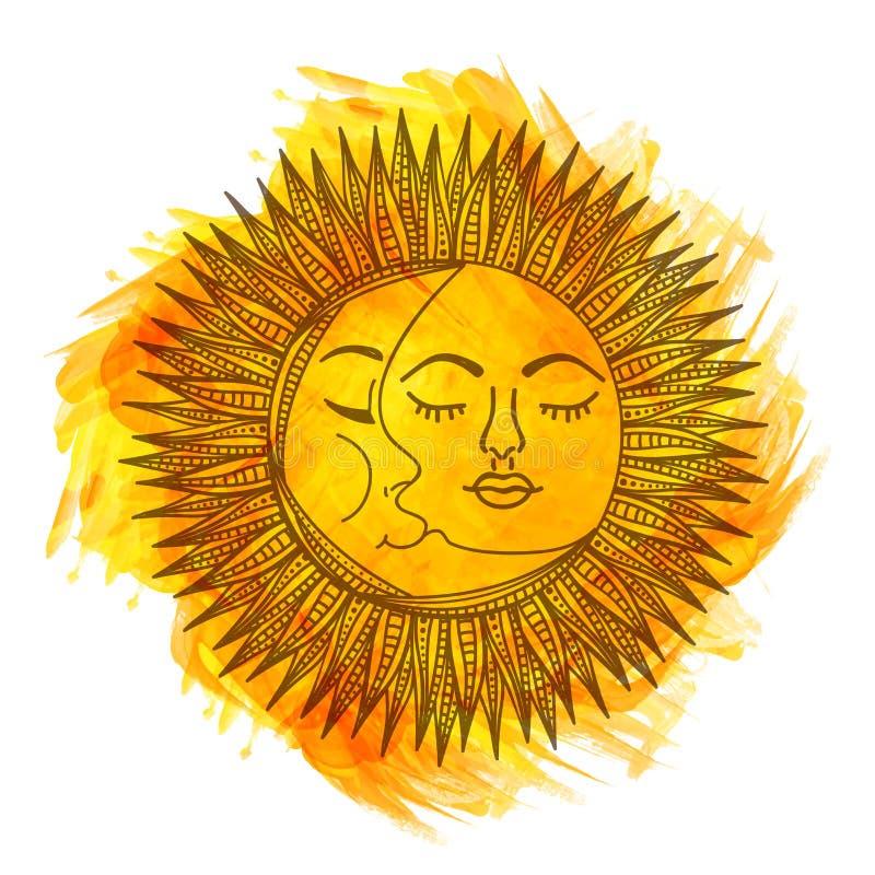 Ήλιος και φεγγάρι ύφους Boho ελεύθερη απεικόνιση δικαιώματος