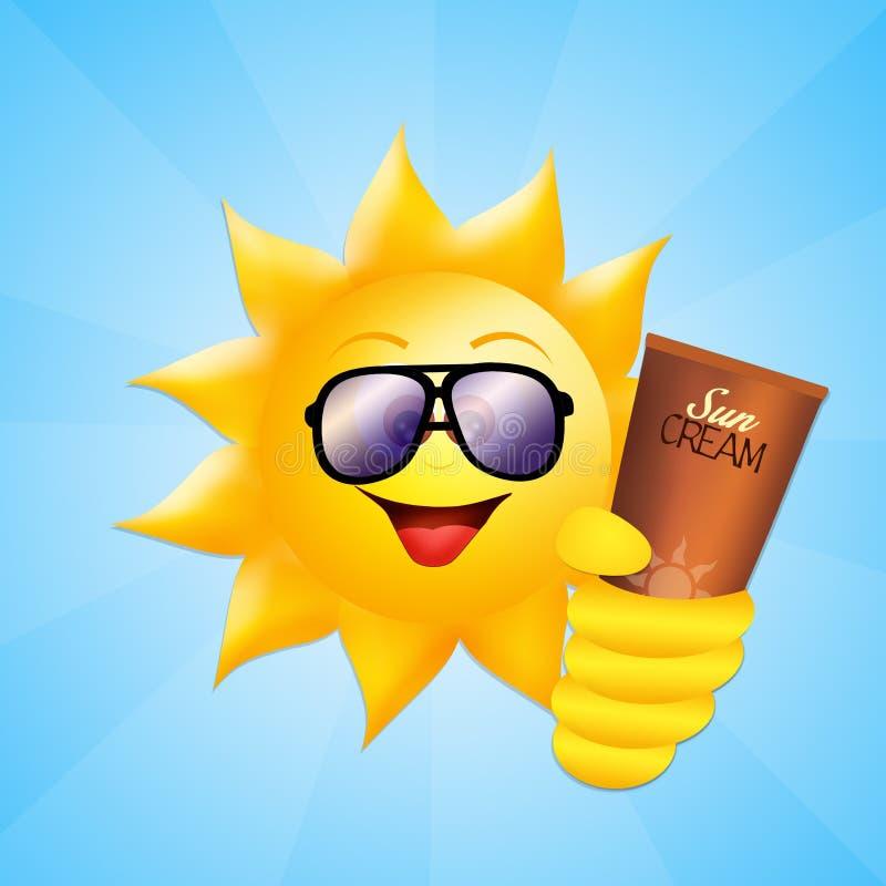 Ήλιος με το λοσιόν ήλιων απεικόνιση αποθεμάτων