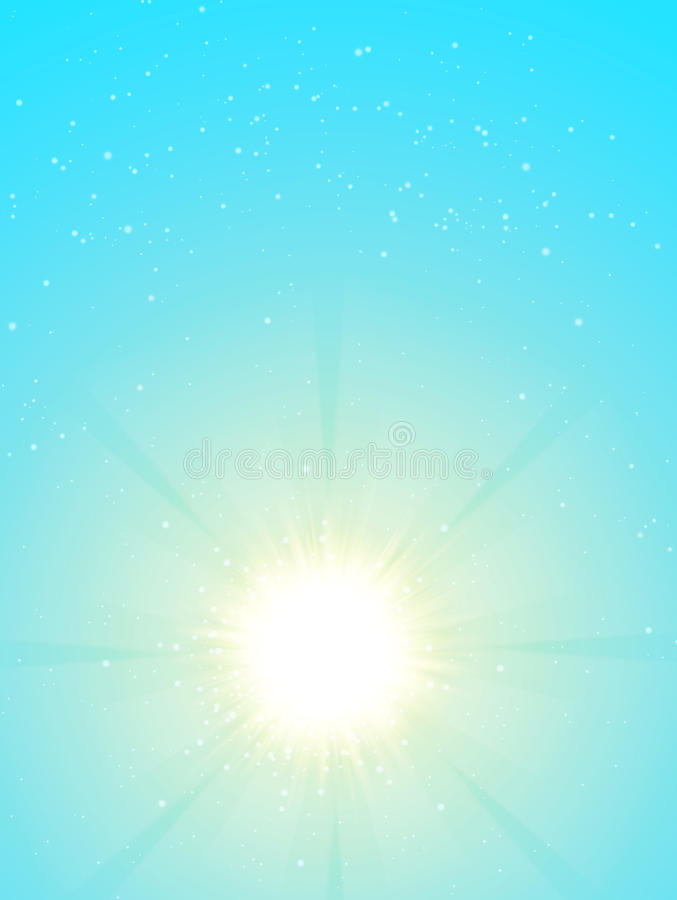ήλιος μπλε ουρανού Ρεαλιστικό σχέδιο θαμπάδων με τις ακτίνες έκρηξης αφηρημένο να λάμψει ανασκόπ& απεικόνιση αποθεμάτων