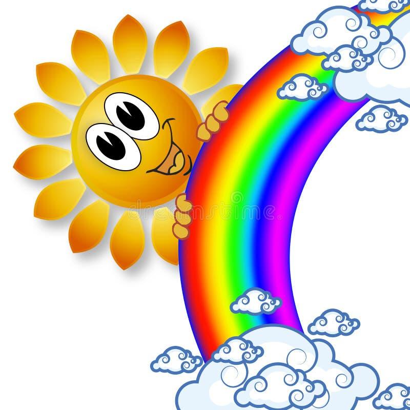 Ήλιος ουράνιων τόξων λογότυπων και τα σύννεφα ελεύθερη απεικόνιση δικαιώματος